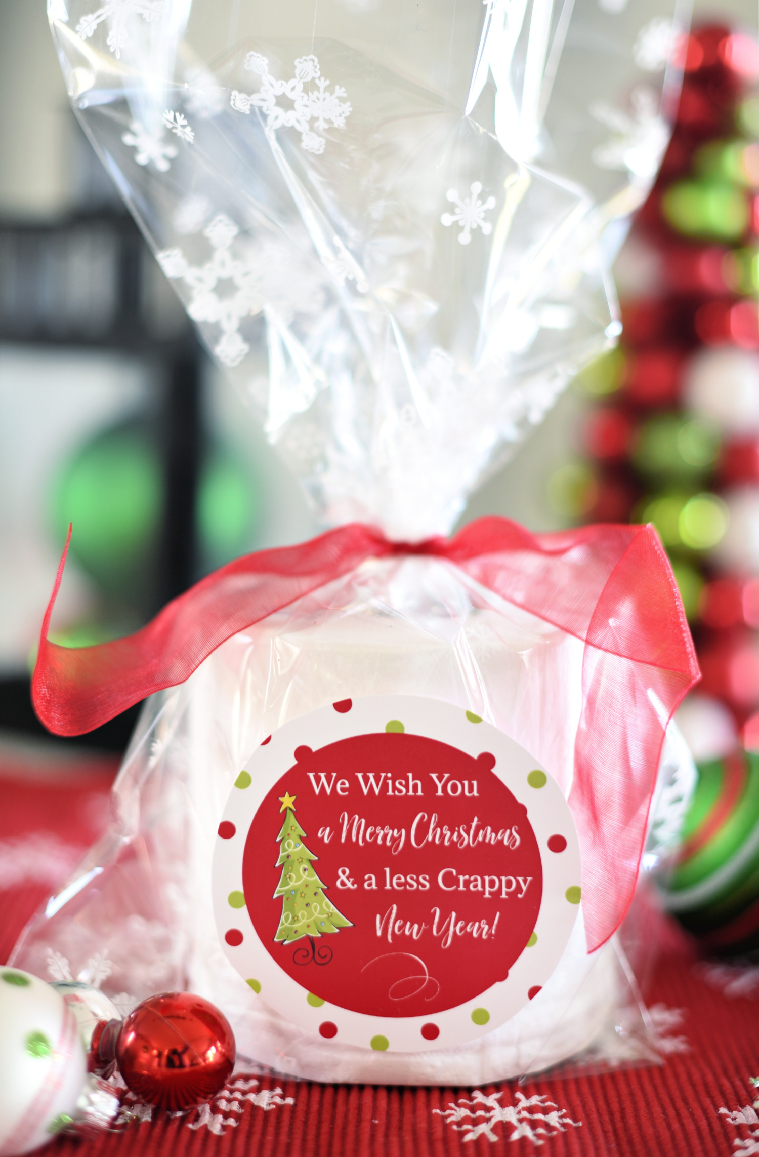 "Funny Holiday Neighbor Gift for 2020 ""We Wish You a Merry Christmas and a Less Crappy New Year"""